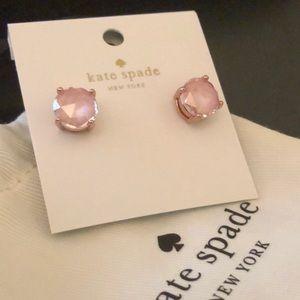 Kate Spade Gumdrop Pink Gem Gold Earrings